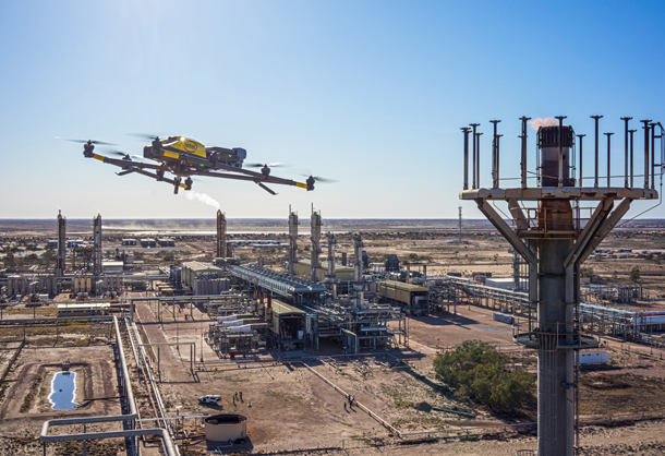 The Intel Falcon 8+ drone inspects Santos's Moomba hydrocarbon processing facility in Australia's Cooper Basin. The Intel Falcon 8+ drone is a multirotor-style drone that, through pre-programmed flight plans, is able to capture hundreds of aerial images per flight. (Credit: Intel Corporation)